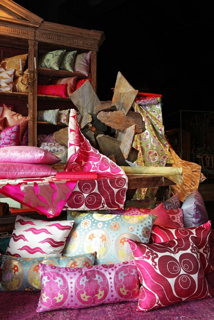 Silk fabric cushions and panels @ AZUL TIERRA SHOP