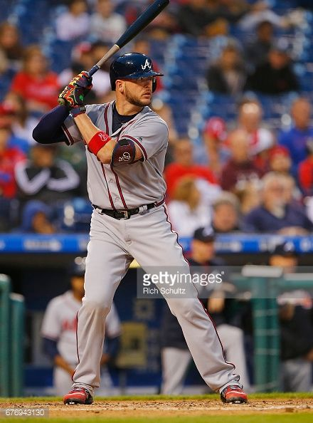 Tyler Flowers of the Atlanta Braves in action against the Philadelphia Phillies during a game at Citizens Bank Park on April 21, 2017 in Philadelphia, Pennsylvania.