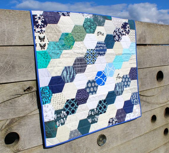 Traditional Hexagon Patchwork Quilt with Blue and White Modern Fabrics, Lap quilt ,Blanket,  Cot bedding or Sofa throw,