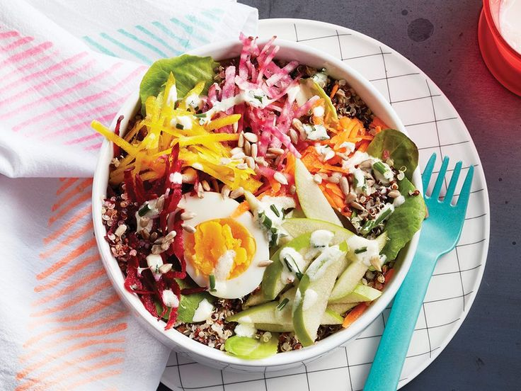 There's a lot going on in this quinoa bowl. But crispy apple, shredded carrots, beets and a hard-boiled egg all get along nicely with the herb dressing.
