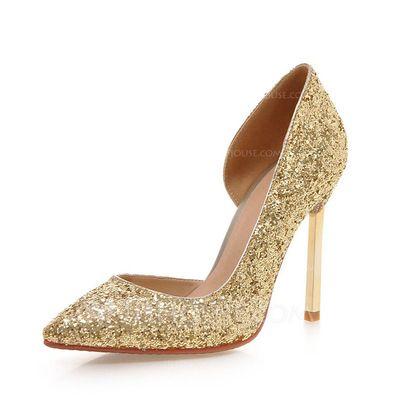 [US$ 44.99] Women's Sparkling Glitter Stiletto Heel Pumps Closed Toe shoes (085085999)