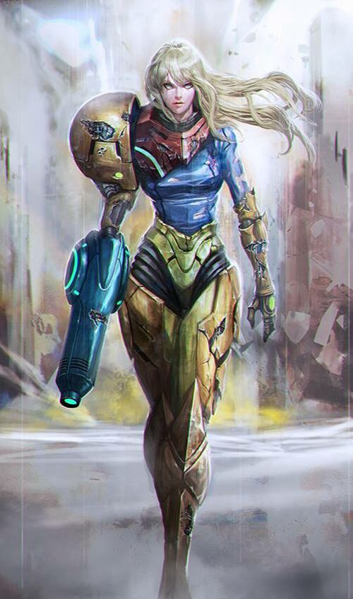 "Fan art about Samus Aran [Metroid] (Found in ""La Passion du Jeu Vidéo"" page on Facebook)"
