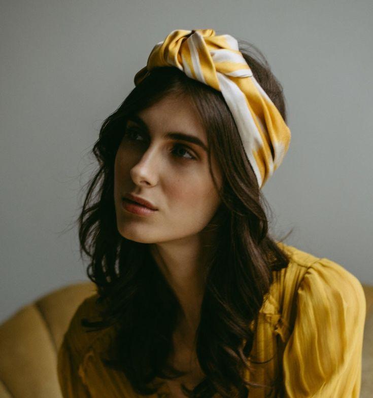 Jennifer Behr Ikat Marin cotton turban OEsCD
