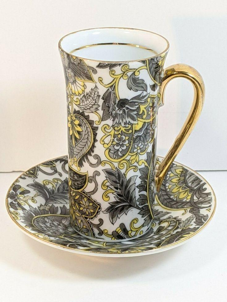 Vintage Arnart Royal Paisley Tall Teacup Saucer Chocolate Espresso Cup Ebay In 2020 Tea Sets Vintage Tea Cup Saucer Tea Cups Vintage
