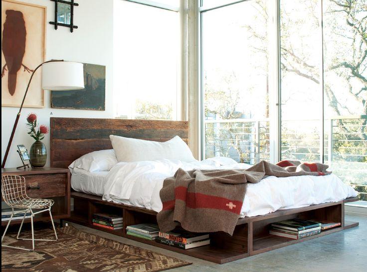 """Lit en bois rustique avec tête de lit en bois reconstitué """"Morning Coffee"""" : Meubles et rangements par vladmartinfurniture"""