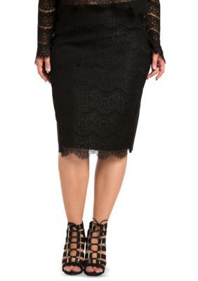 Standards And Practices Girls' Plus Size Tori Black Lace And Ponte Pencil Skirt - Black - 3X
