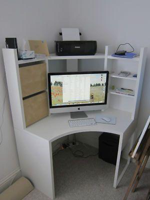 Ikea Micke Corner Workstation Desk Unit White With