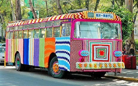 Do I put this in textiles or vehicles? I would SO drive this bus for a living! This is an example of yarnbombing, where knitters acost something in the public realm and clothe it with knitting! So cool :) what a smile you'd have on completion!