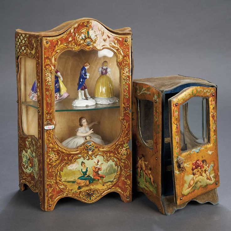 Two French Miniature Cabinets with Enamel-Painted Scenes