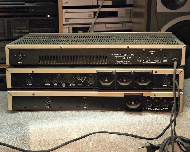 Vintage audio amplifier collection. A selection of some interesting vintage audio amplifiers from the 70's.
