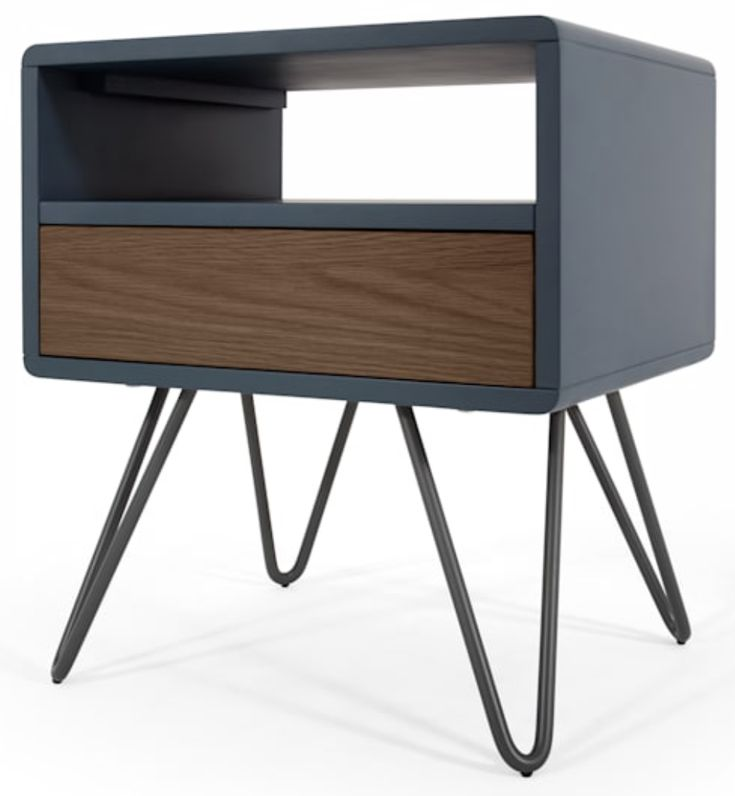 Best Ukan Bedside Table Blue And Dark Stain Oak With Images 400 x 300