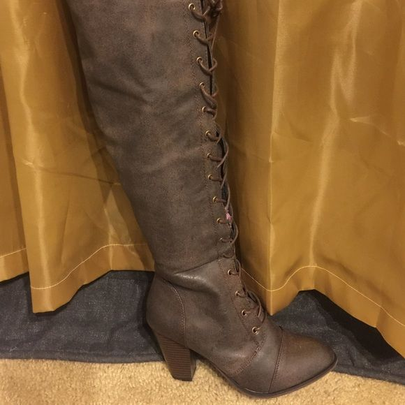 Brown thigh high Granny chunky Heels size 10 Worn once size 10 chunky heel lace up Thigh high boots brown Shoes Over the Knee Boots