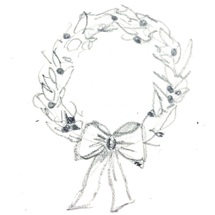 Wreath, illustration, pencil drawing