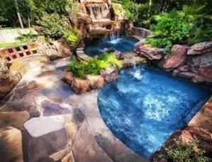 Pool with a waterfall by Pikssik