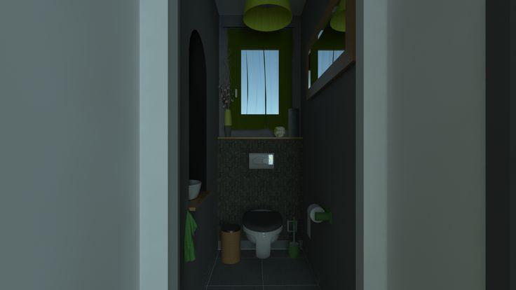 Toilettes ambiance nature gris et vert anis. Photo_réalisme de jour.