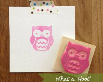 Hand Carved Owl Rubber Stamp