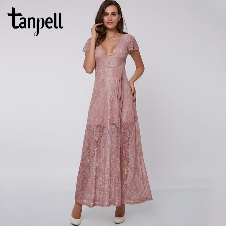 Tanpell sexy V-Neck evening dress pink Ankle-Length short sleeves A-Line lace party dress formal prom long evening dresses