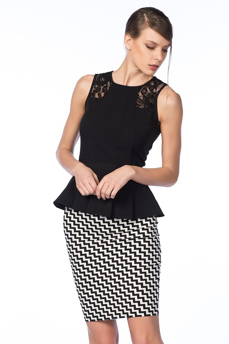Siyah Beyaz Etek 484-SATEEN101-2091 Sateen   Trendyol