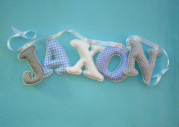 Personalized Boys room name banner Fabric by LittleFairyCottage