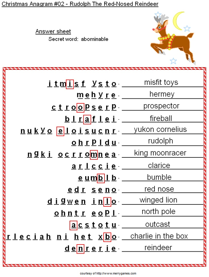 Printable Anagram Worksheets : Free printable christmas activities anagrams