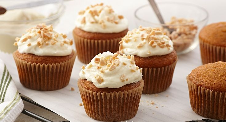 Pumpkin Cupcakes with Almond Cream Cheese Frosting http://www.mccormick.com/Gourmet/Recipes/Dessert/Pumpkin-Cupcakes-with-Almond-Cream-Cheese-Frosting