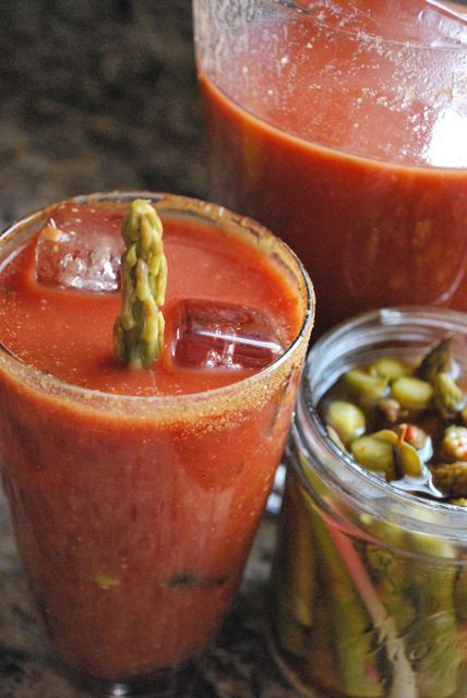 Awesome Bloody Mary recipe! Pickled Asparagus and Homemade Bloody Mary Mix
