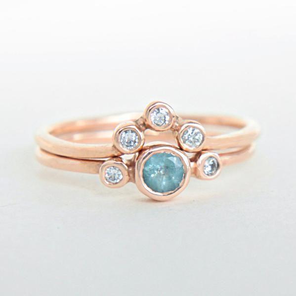 Aquamarine and Diamond Ring 14k Wedding Set Rose Gold – Manari Design