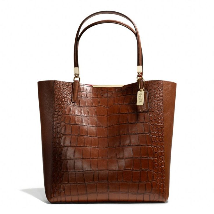 The Madison North/south Bonded Tote In Croc Embossed Leather from Coach
