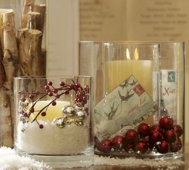 add cranberries to mason jars with candles.. love