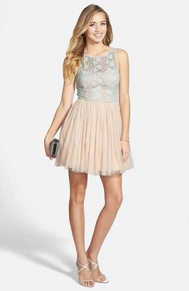 Way-In Lace Illusion Skater Dress (Juniors) available at #Nordstrom