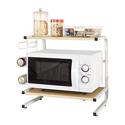 SoBuy®Forno a microonde Mensole, Carrello da cucina,Mensola angolare, in metallo e legno,beige,FRG092-N,IT
