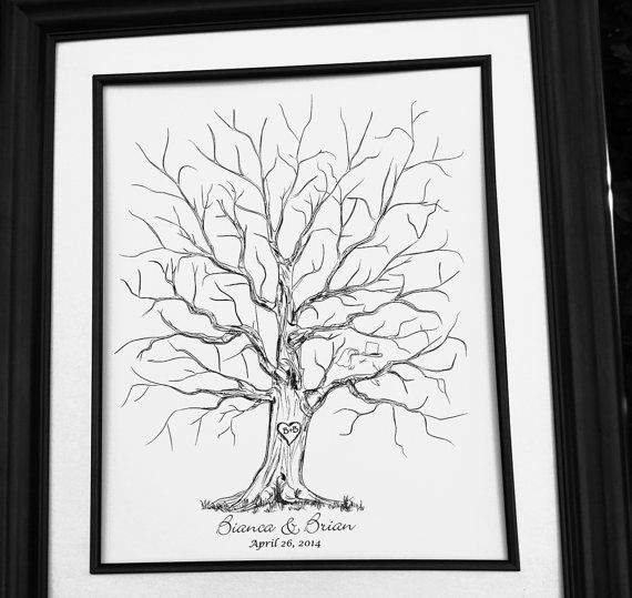 Original Wedding Gift Thumbprint Guest Book Tree by fancyprints