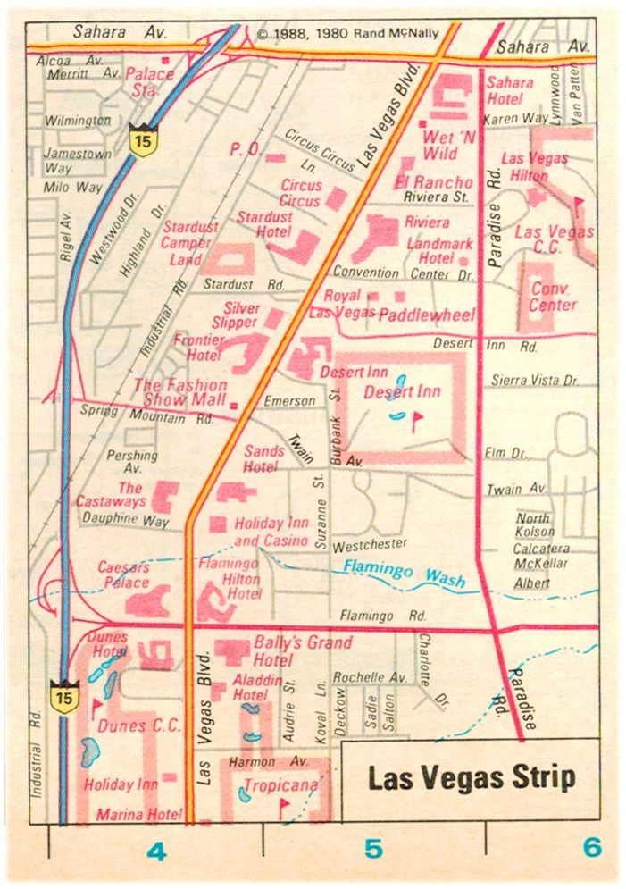 Vintage 1988 Rand McNally map of the Las Vegas Strip.  The following casinos are gone:  Landmark, Sands, Paddlewheel, Royal Las Vegas, Desert Inn, Aladdin, Marina, Dunes,  Castaways, Frontier, Silver Slipper, Stardust, El Rancho, and the Sahara.  May the classic and classy Las Vegas of yesteryears rest in peace.