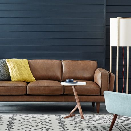 Oxford brown leather sofa for Canape oxford honey leather sofa