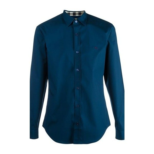 BURBERRY Cambridge Classic Shirt ($229) ❤ liked on Polyvore featuring men's fashion, men's clothing, men's shirts, men's casual shirts, blue, mens curved hem t shirt, mens collared shirt, mens casual long sleeve shirts, mens long sleeve collared shirts and mens extra long sleeve shirts
