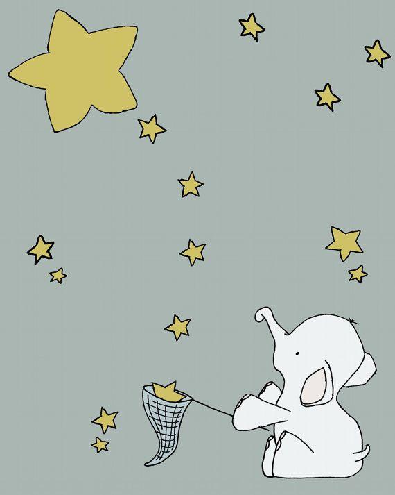 Elephant Nursery Art Elephant Star Catcher  by SweetMelodyDesigns, $15.00 I loveeee this!!!!