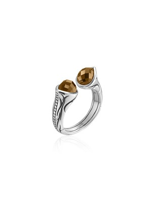 Scott Kay Silver & Citrine Engraved Wrap Ring