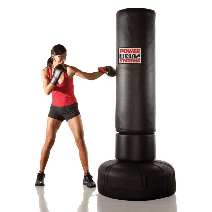 Power Systems 88214 Powerforce Freestanding Punching Bag Kickboxing Bag Punching Bag Total Body Workout