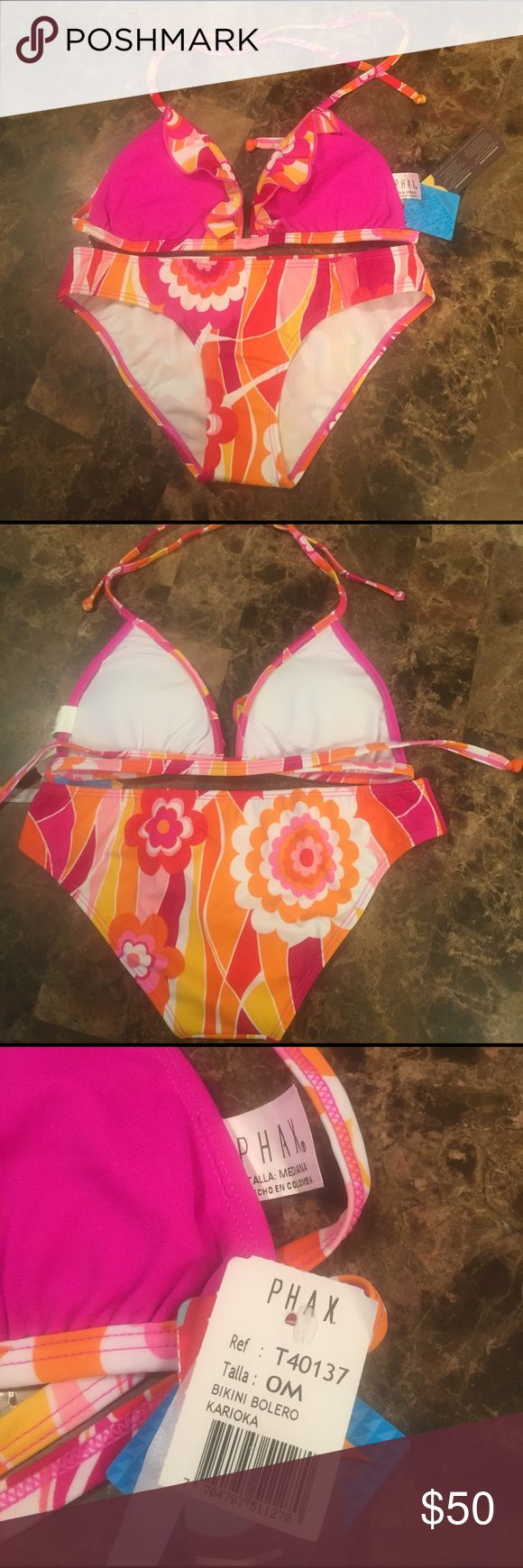 Fru Fru Pink/Orange 2 piece Phax bikini Fru Fru Pink/Orange 2 piece Phax bikini,famous colombian brand! Enhance your figure with molded foam cups on the top & a sexy moderate rear coverage ! PHAX Swim Bikinis