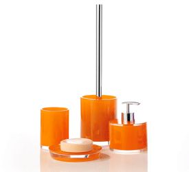 Bathroom Decorating Ideas, Cheerful Orange Paint and Accessories