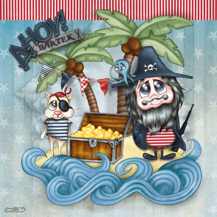 Ahoy! - nautical personalised print, picture and poster for children - www.smooki.pl