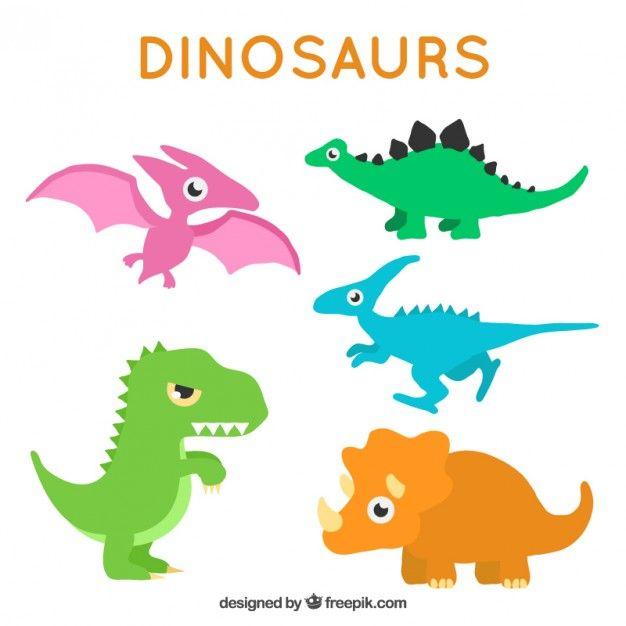 dinossauros coloridas agradáveis no estilo dos desenhos animados Vetor grátis