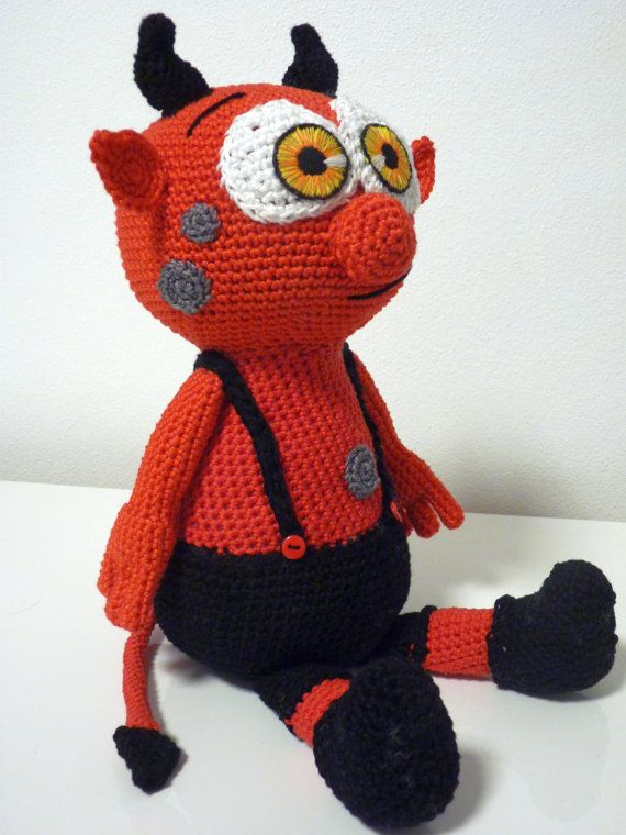 Crochet Little Devil Pattern Amigurumi  PDF Cute Red Monster in Black Pants By SKatieDes