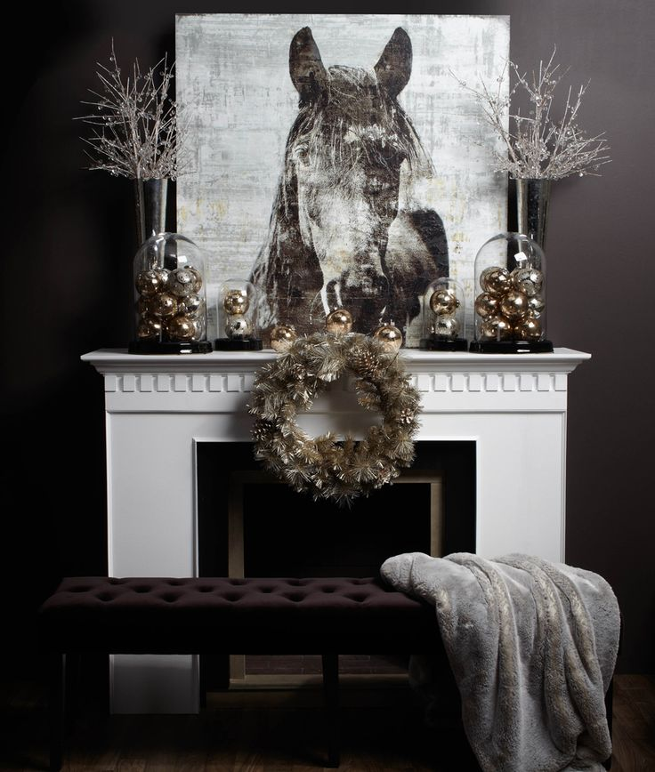 Create A Seasonal Look With Your Current Artwork By Surrounding The Mantel Holiday Accessories In Winter Shades Of Grey And Gold