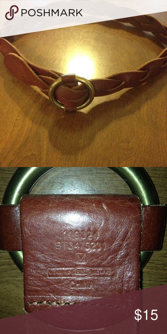 """Fossil brown braided leather belt In excellent used condition size M 39"""" Lon and 1.75"""" wide Fossil Accessories Belts"""