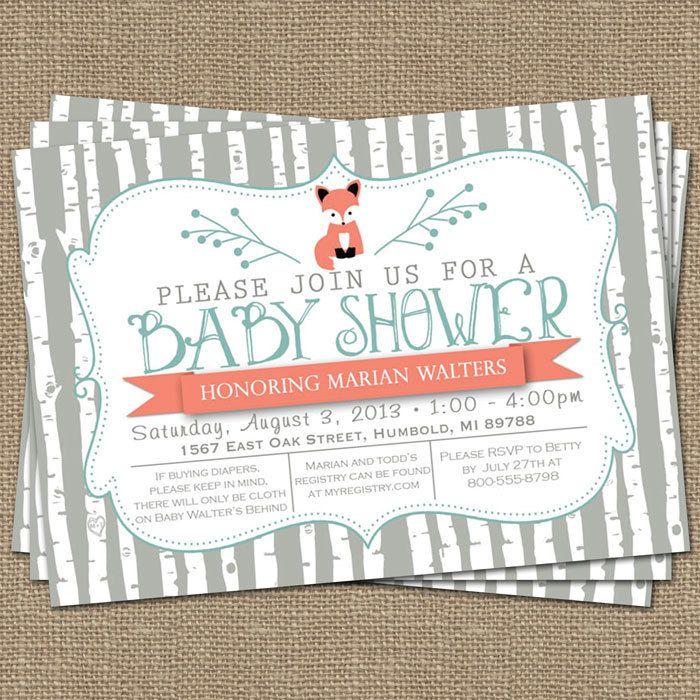 birch tree fox baby shower invitation by freshlysqueezedcards, $13.00