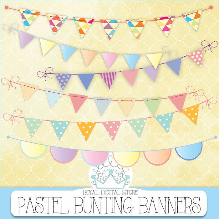 "Bunting Banners Clip Art : "" Pastel Bunting Banners Clip Art "" with pastel bunting banners clip art, colorful bunting banners clip art #partysupplies #yellow #digitalpaper #scrapbookpaper #planner #summerdigitalkit"