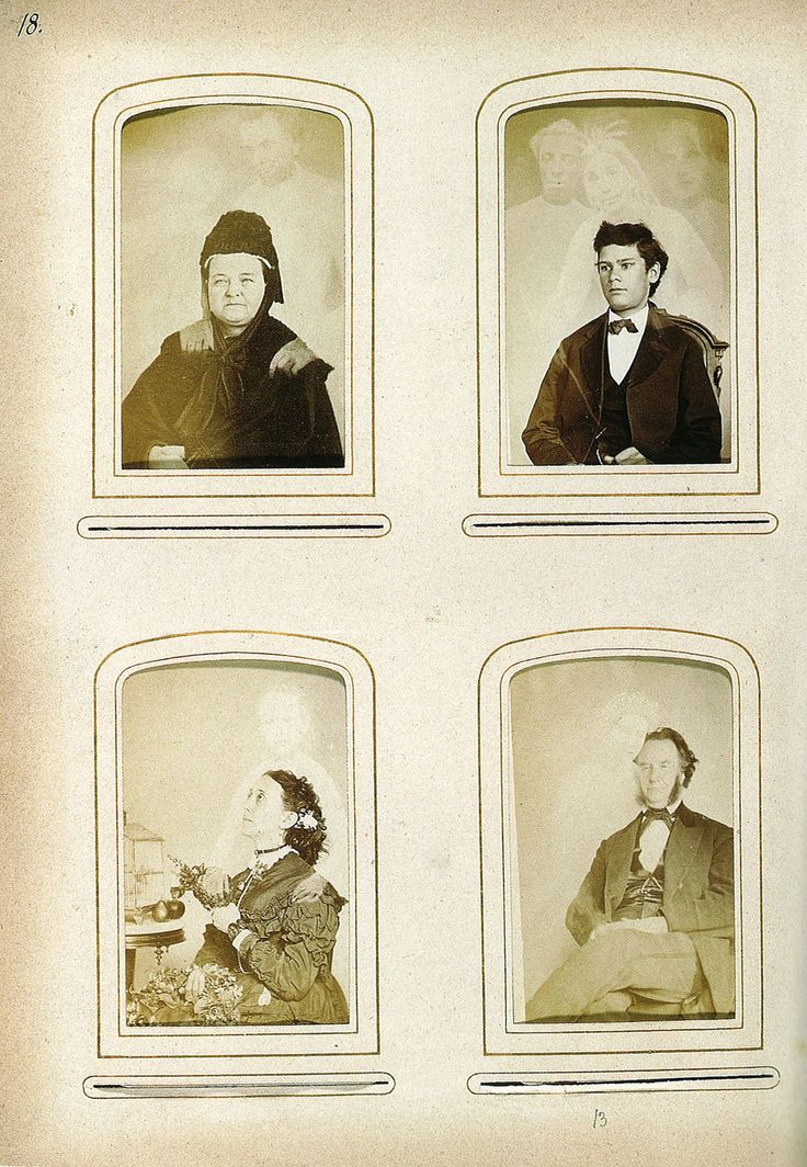 William H. Mumler, United States, two pages from an album of 112 cartes de visite and cabinet cards 1870-75. Eight albumen silver prints 10 x 6 cm approx (each) 28 x 20.3 cm (album page). The College of Psychic Studies, London.  Find out more at: http://www.darkshadowghosttours.com/?p=198