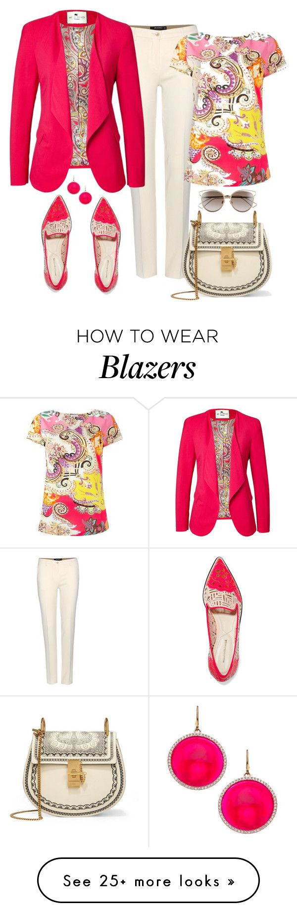 """Etro Carnation Pink Blazer & Top Look"" by romaboots-1 on Polyvore featuring Etro, Chloé, Nicholas Kirkwood, Christian Dior and Madison Precious Jewels"