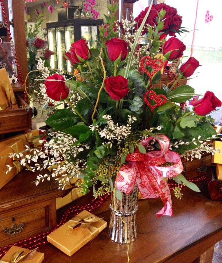 Simple Valentine Day Flower Arrangements | Romantic flower arrangement by Botanical Designs Florist , Baytown TX